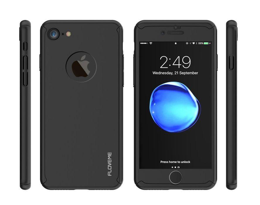 8a774c52094 Capa Hibrida Proteção 360 iPhone 5 6 6S 7 Plus 8 X + Pelicula Vidro