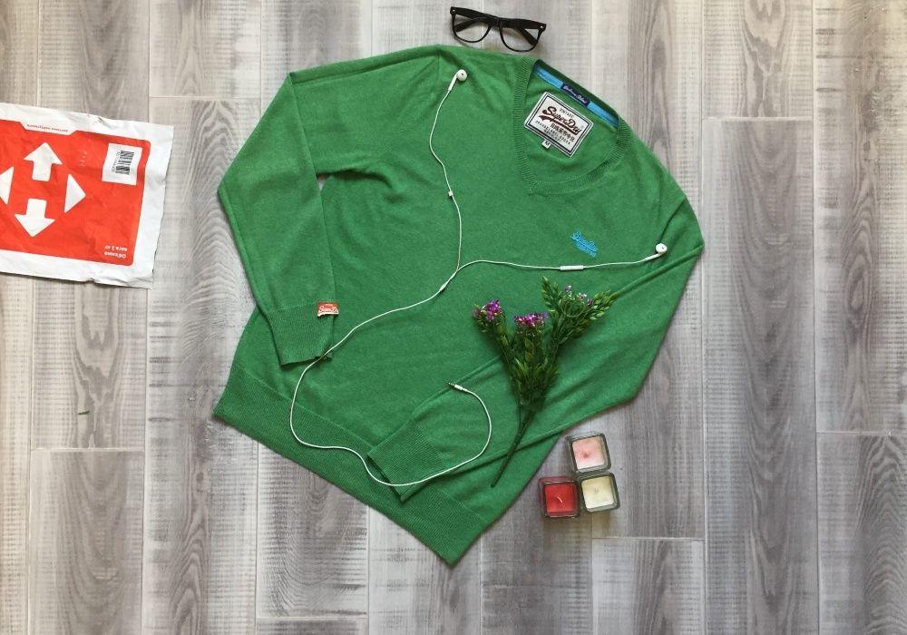 Свитер зеленый Super dry, размер S M, котон кашемир шерст кофта