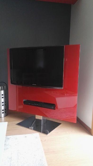 Nova Redução Preço - Móvel TV moderno, vidro e base inox - giratória