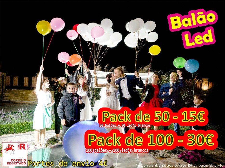 Pack de 50 Balões Led + Hélio Peso Da Régua E Godim - imagem 1