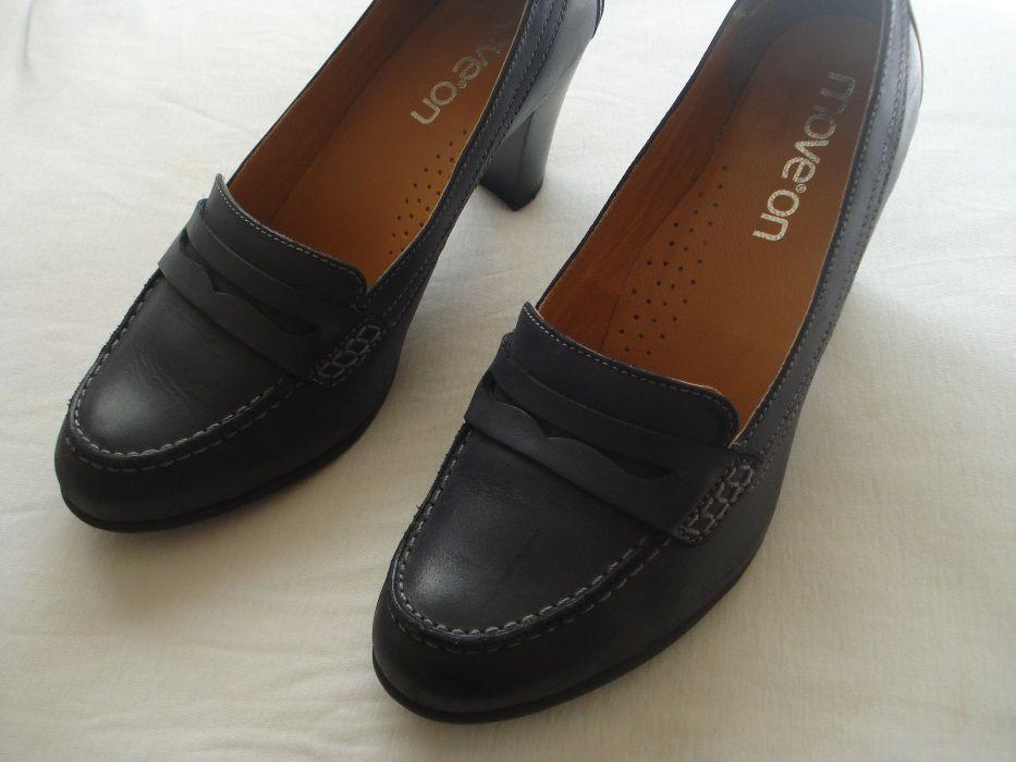 Sapatos pele azul escuro tacão 7cm T38,5 MOVE ON Paranhos