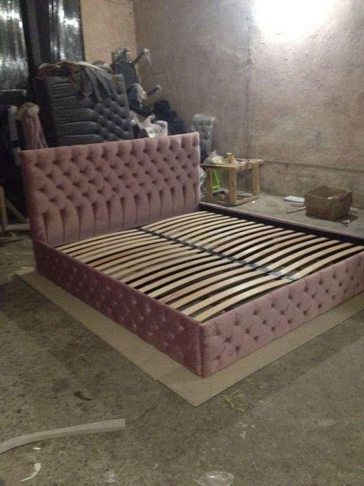 Кровать мягкая. Каретная стяжка. Мягке ліжко