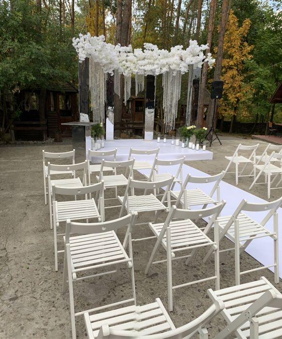 Стулья для выездной церемонии белые складные