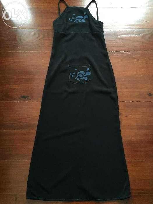 Vestido comprido, peça única, feito e pintado à mão, tamanho S