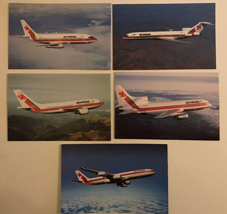 Cinco postais de aviões da TAP