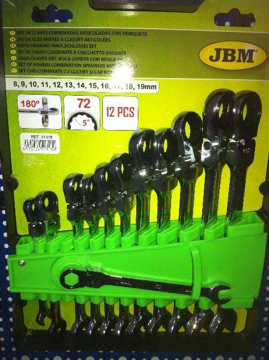 Jogo de 12 chaves articuladas de boca/luneta de roquete da 8mm à 19mm