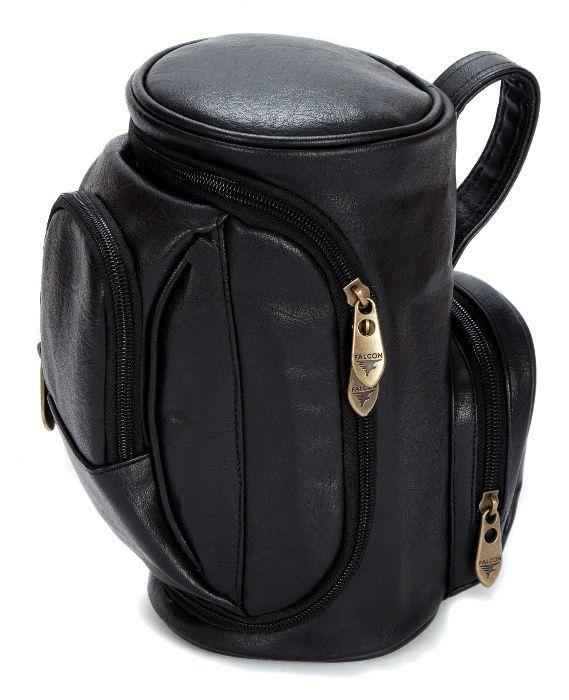 Necessaire em pele preta formato saco de golf