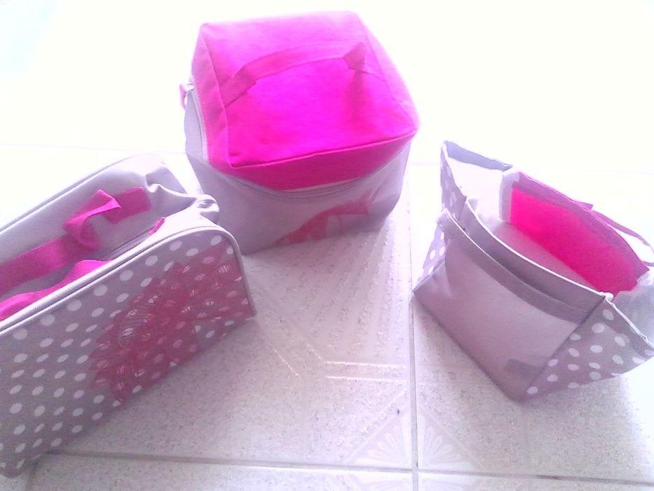 Conjunto Saco, necessaire e cesto