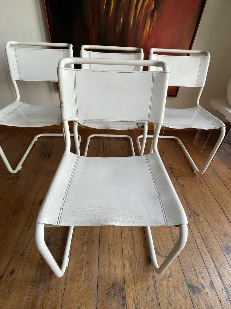 Thonet S32 krzesło Mart Stam Bauhaus biała skóra