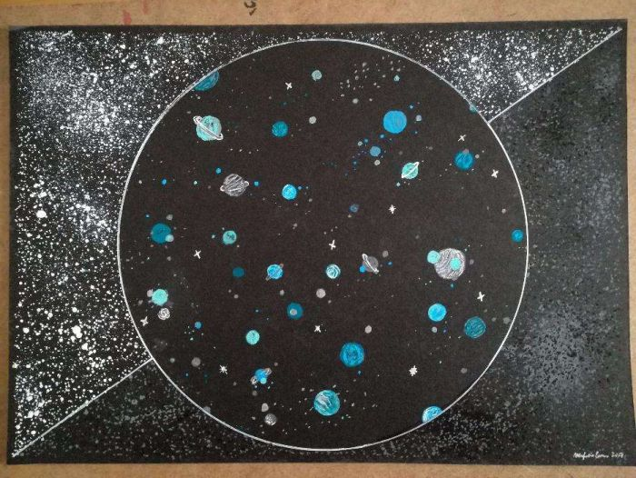 Ilustracao Original Desenho Pintura Planetas Estrelas Universo