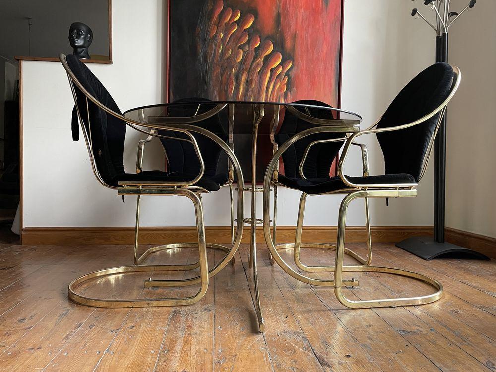 Gastone Rinaldi Mid century modern stół + 4 krzesła mosiądz