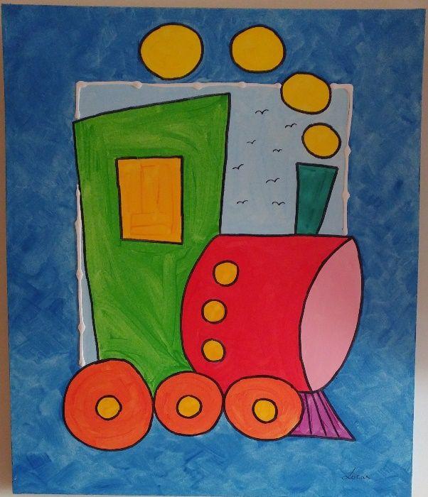 Comboio a Vapor - Tela para Criança (95 cm x 81 cm x 4 cm)
