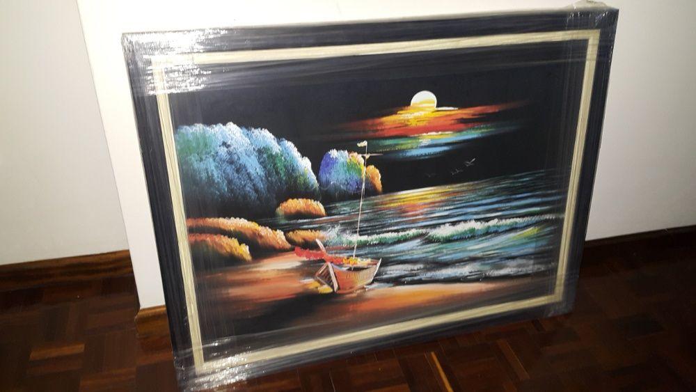 Pintura a oleo sobre tela, com vidro