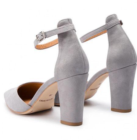 Szpilki szydłowski buty 39 na obcasie skórzane szare