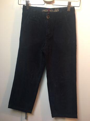 Calças Lanidor, azuis, em bombazine, tamanho 6-7 anos.