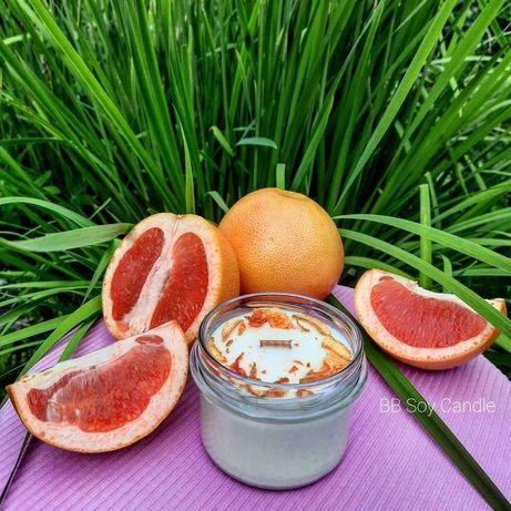 Świeca sojowa grapefruit malina palo santo ręcznie robiona rękodzieło