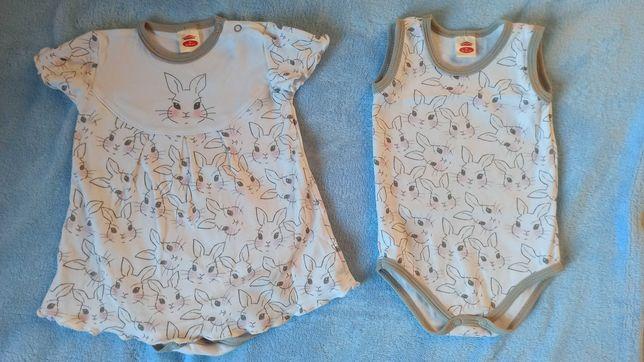 Body, sukienka, r 80 , Makoma, króliczki