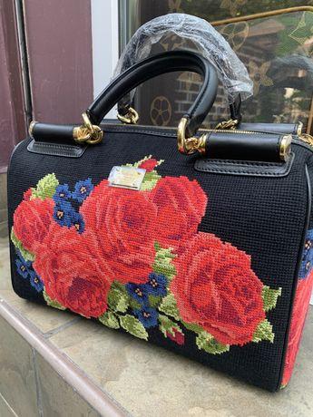 Продам шкіряну сумку Dolce&Gabbana/ сумка з вишивкою/ сумка  етно