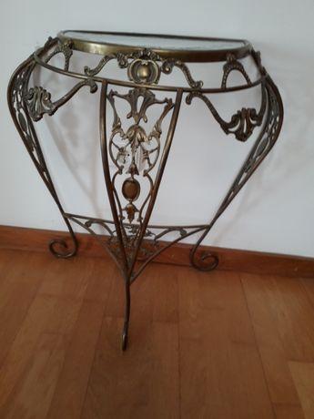 Mesa biselada em vidro e latão com espelho