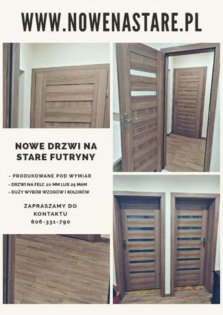 Drzwi na stare futryny na wymiar, felc 20 mm 25 mm z montażem