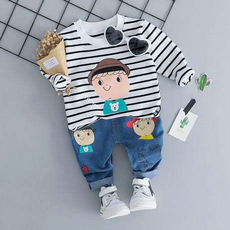 Śliczny komplet dla chłopca spodnie dżinsy bluza