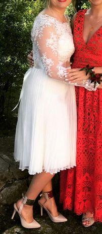 Suknia ślubna krótka/ecru, ecri/ ślub cywilny /gratis wysyłka