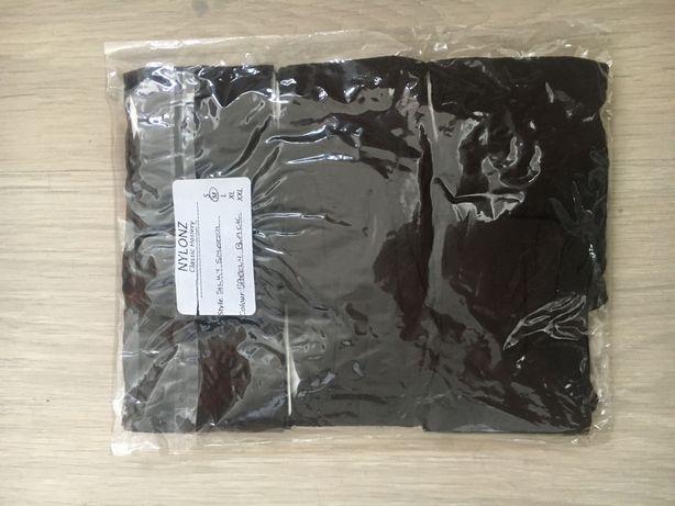 684/ Trzy pary multipack pończochy klasyczne do pasa czarny jasny M