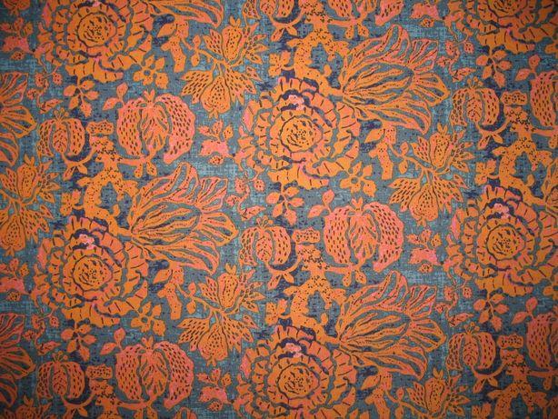 Tkanina bawełniana w pomarańczowo-turkusowy wzór