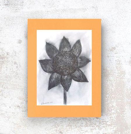 rysunek do loftu, czarno pomarańczowy obraz, oryginalna grafika scandi