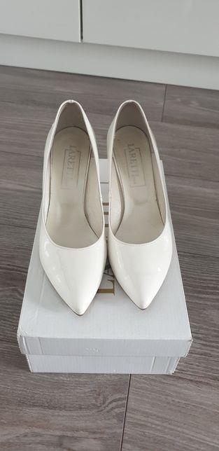 buty ślubne szpilki 8cm laretti ivory/biel