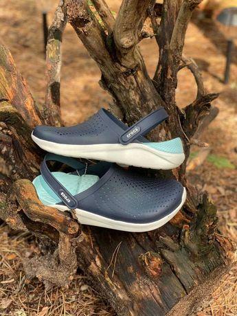 Кроксы Crocs LiteRide Clog Navy Almost White мужские синие 40-44