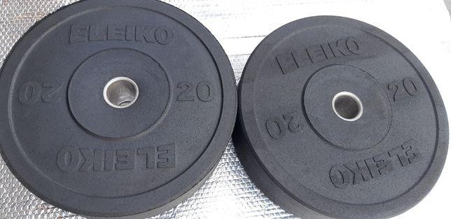 Obciążenia olimpijskie 2x20 kg fi 51mm ogumowane ELEIKO