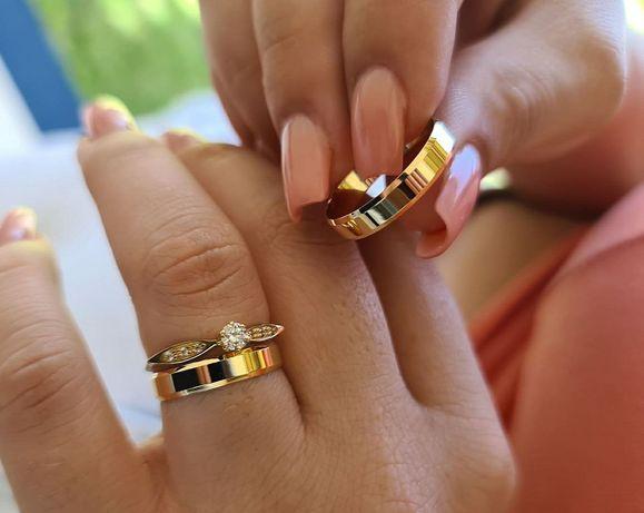 Wyjątkowo Elegancka Para Złotych Obrączek Ślubnych
