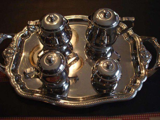 Conjunto de chá e café em chapa cromadaem