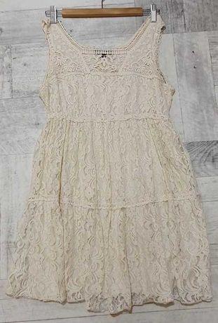 Sukienka koronkowa ecru KappAhl M