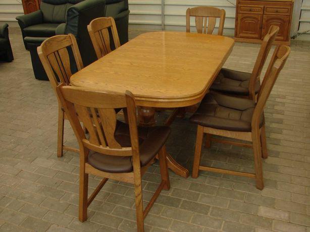 Duży stół dębowy i 6 krzeseł