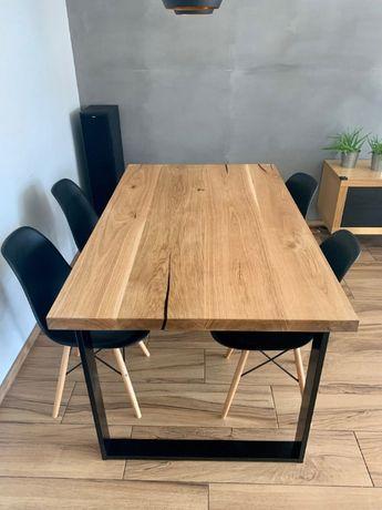 Stół do jadalni Tortu z drewna dębowego w stylu industrialnym/loft