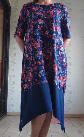 Шикарное платье миди в цветы.Размер Л-ХЛ.