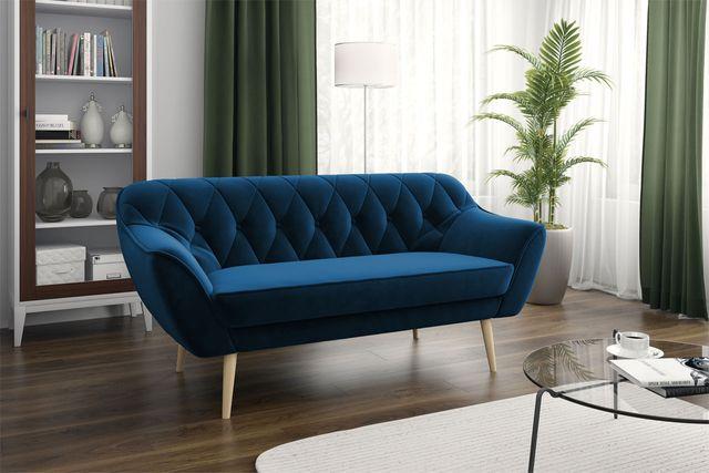 Sofa trzyosobowa, trójka skandynawska, granatowa kanapa pikowana