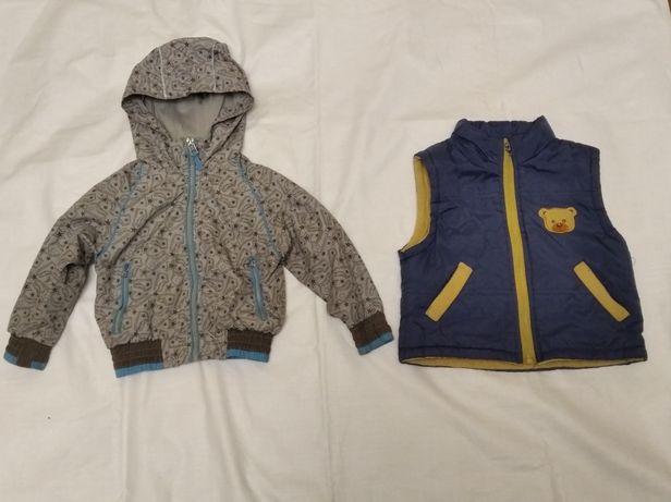 Куртка ветровка, жилетка на флисе и толстовка байковая. Лот