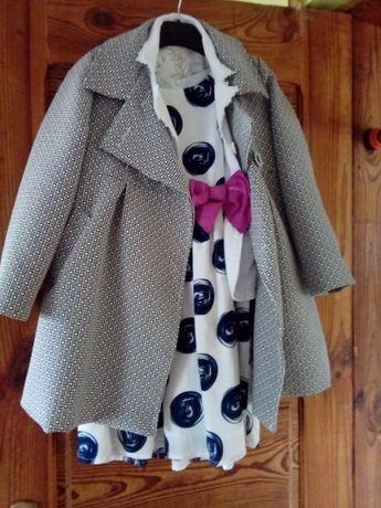 Komplecik- sukienka marynarka i płaszczyk