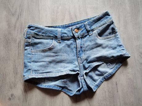 Krótkie spodenie spodenki szorty jeans wysoki stan S