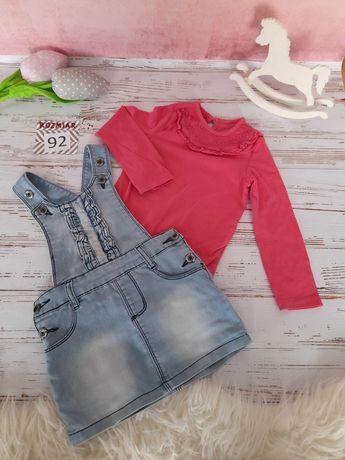 KOMPLET sukienka jeans na szelkach plus body rozm 92