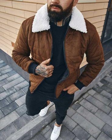 Куртка мужская замшевая демисезонная на овчине до 0* осенняя весенняя