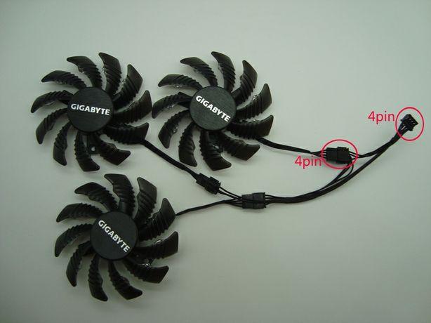 Вентиляторы 3шт 75мм 12В 4пин T128010SU GTX 980 1060 1070 1080 наличие