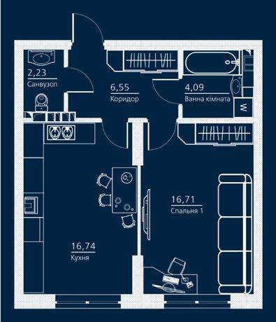 """Продам 1-к квартиру, 46 кв.м в клубном доме премиум класса """"Einstein"""""""