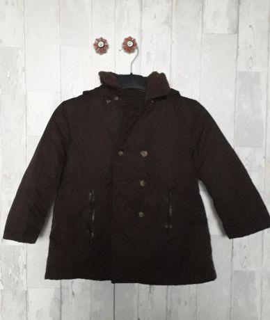 Kurtka płaszcz dziecięca brązowa ocieplana zimowa 5-6 lat tania