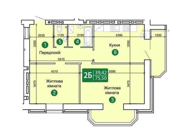2-комнатная квартира в новом ЖК, 75,5 кв.м.