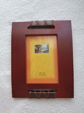 Ramka na zdjęcia 9×13cm drewniana ze wstawkami