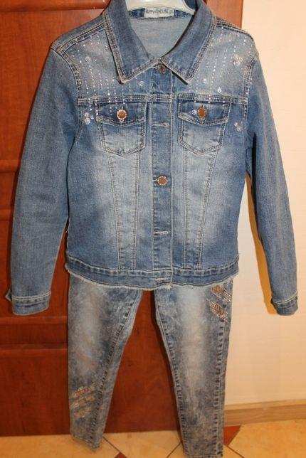 Kurtka, spodnie jeans cyrkonie-stan idealny rozm.134/140